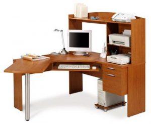 Bàn làm việc kết hợp tủ trưng bày và ngăn để bàn phím máy tính