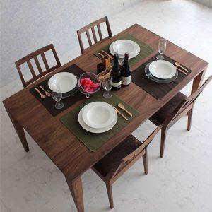 Bộ bàn ăn óc chó hiện đại